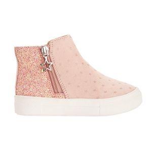 Sparkly blush pink zip up sneaker booties